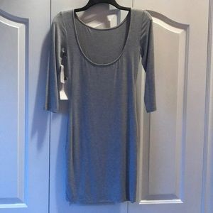Heather Grey soft t-shirt material fitted dress